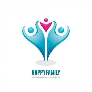 Happy family - abstract figures - vector logo concept illustration. People group logo sign. Social media logo symbol. Teamwork sign. Friendship logo sign. Vector logo template. Design elements.