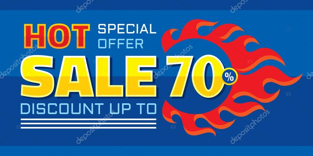 Hot Sale Discount Up To 70 Special Offer Vector Horizontal