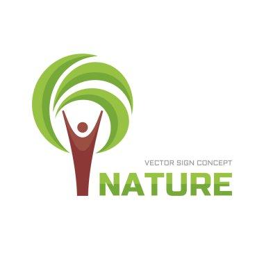 Nature - vector logo concept illustration. Human tree logo sign icon. Ecology vector logo sign. Eco logo sign. People logo. Human and leaves logo sign. Vector logo template. Design element.