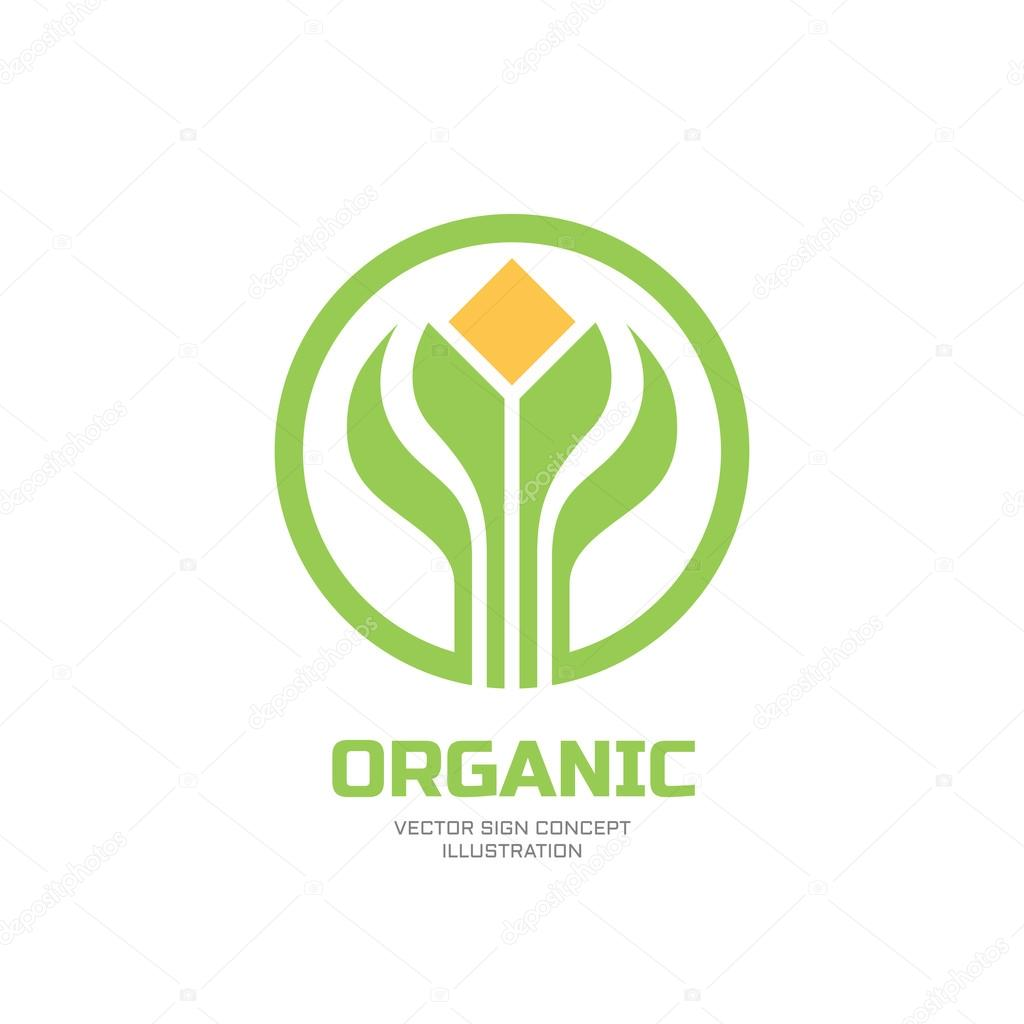 Sprouts and leaves - vector logo concept illustration. Organic logo ...