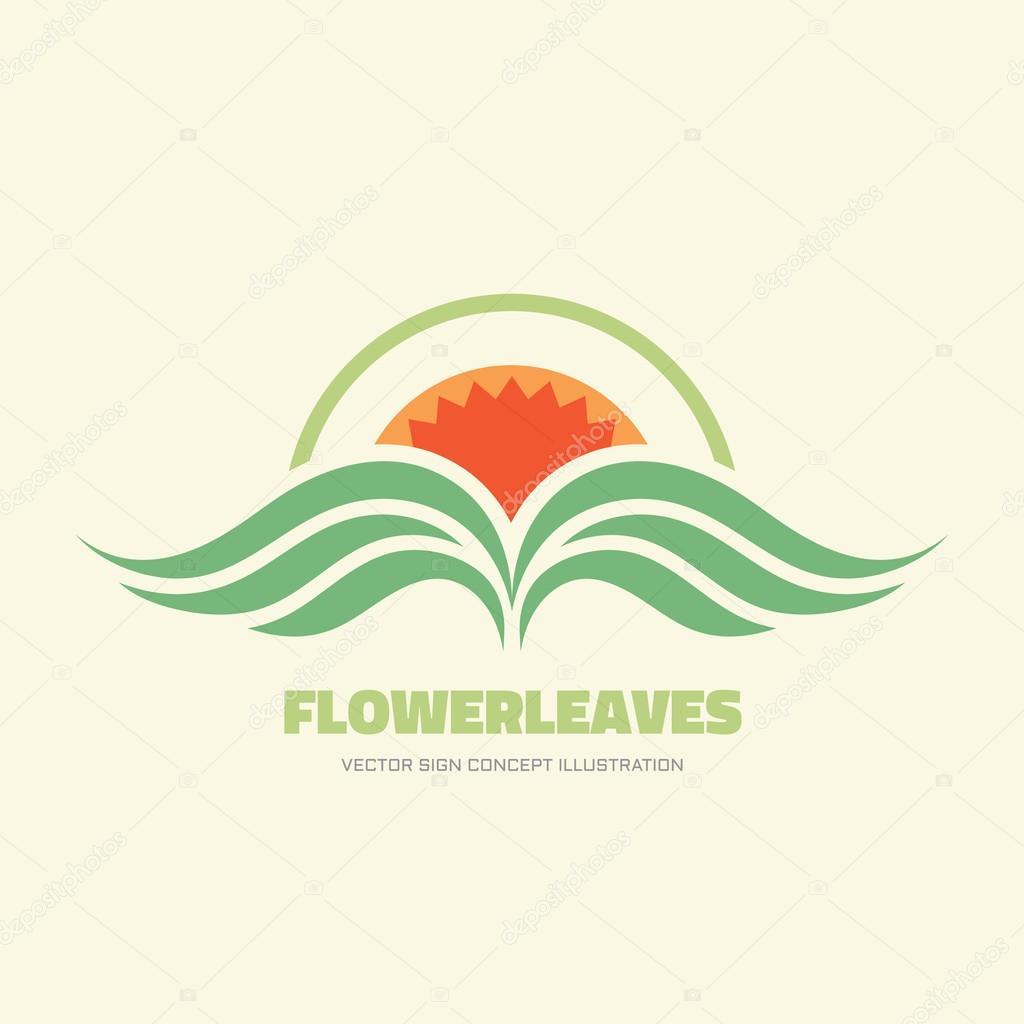 flower leaves vector logo concept illustration in flat style design