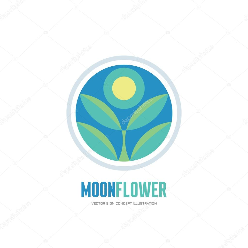 Floral design in circle stock vector image 75615991 - Depositphotos_107169764 Stock Illustration Moon Flower Flower Leaves In Moon Flower Flower Leaves In Circle Vector Logo