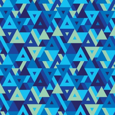 Abstract geometric background - seamless vector pattern for presentation, booklet, website and other design project. Seamless vector background in blue colors. Triangles background.