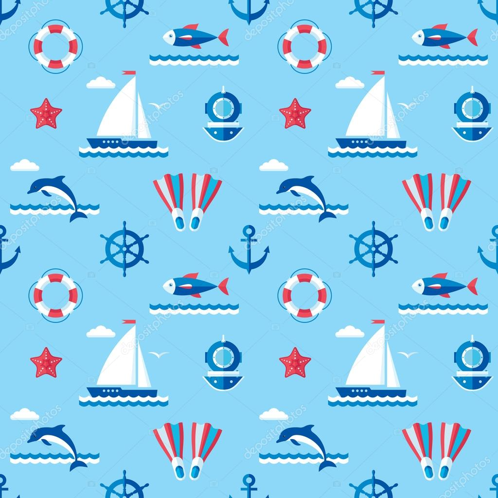 Sea - vector background seamless pattern in flat style design. Ocean background seamless pattern. Seamless vector background with signs of marine theme. Nautical vector background pattern.