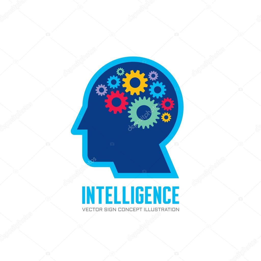 Human head and brain process - vector logo concept