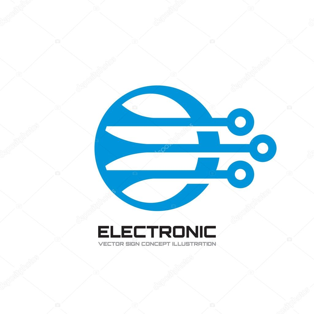 Electronic - vector logo template concept illustration ...