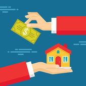 Fotografie Menschenhand mit Dollar Geld und Haus. flache-Konzept-Design-illustration