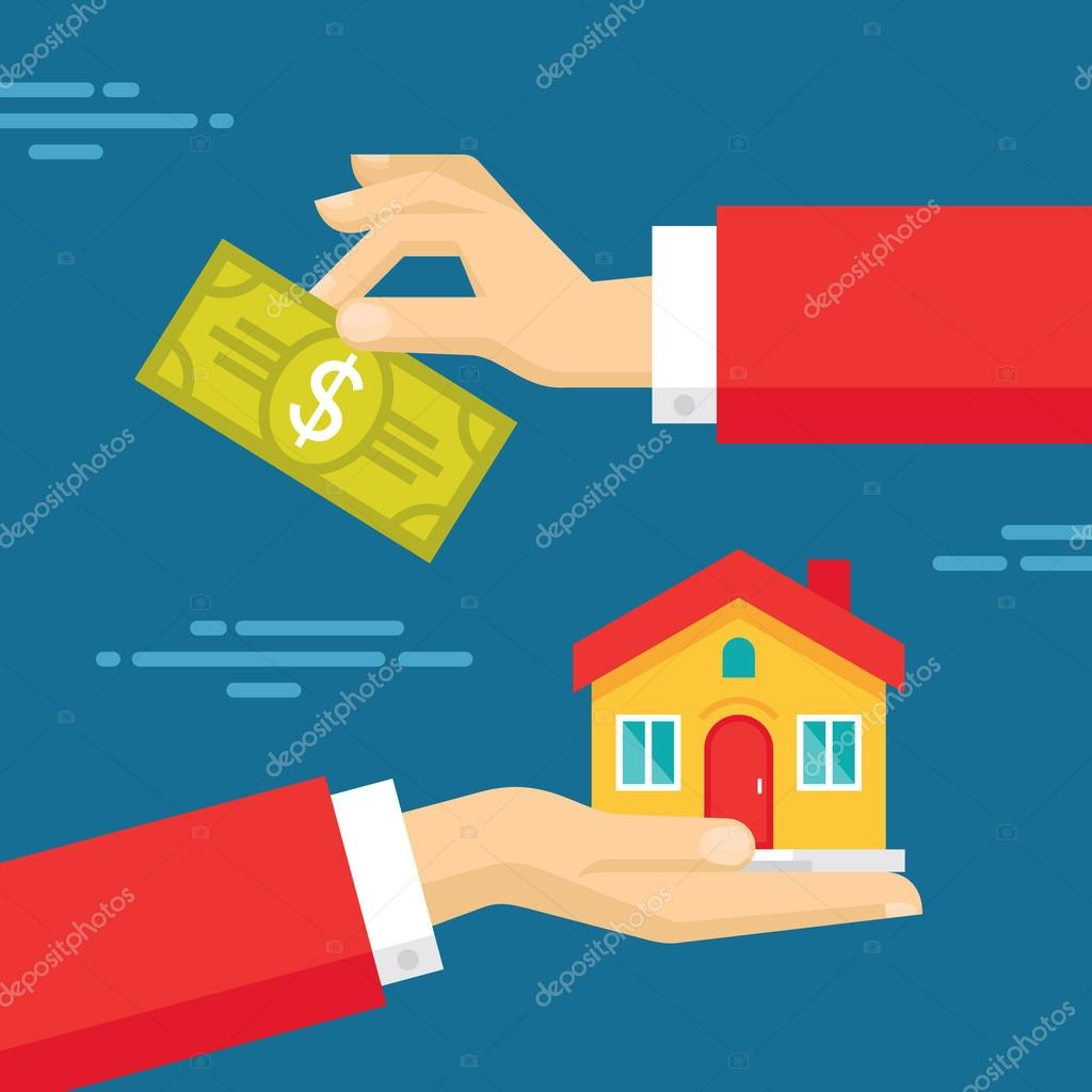 Human Hands With Dollar Money And House. Flat Style
