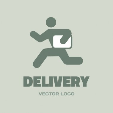 Delivery - vector logo concept. Running man. People character. Vector logo template.