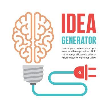 Human brain in light bulb vector illustration. Idea concept