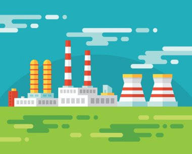 Industrial factory building - vector illustration in flat design style for presentation, infographic, booklet, web site and different design projects. Design element.