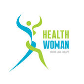 Health woman - vector logo concept. Abstract human illustration. Human character illustration. Vector logo template. Human logo. Human icon. Sport and fitness logo. Health and gymnastic logo.