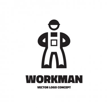 Workman - vector logo illustration. Worker logo concept. Vector logo template. Human character. Design element.
