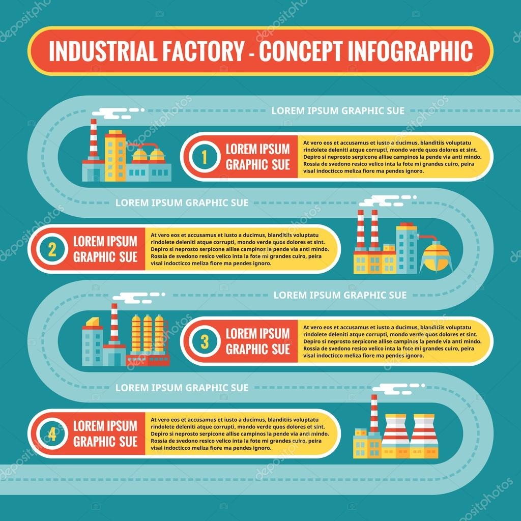 Industrial factory - infographic business concept in flat design ...