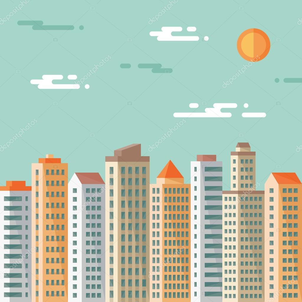 Cityscape - abstract buildings - vector concept illustration in flat design style. Real estate flat illustration.Archit ecture megalopolis. Cityscape light background. Set buildings. Design elements.
