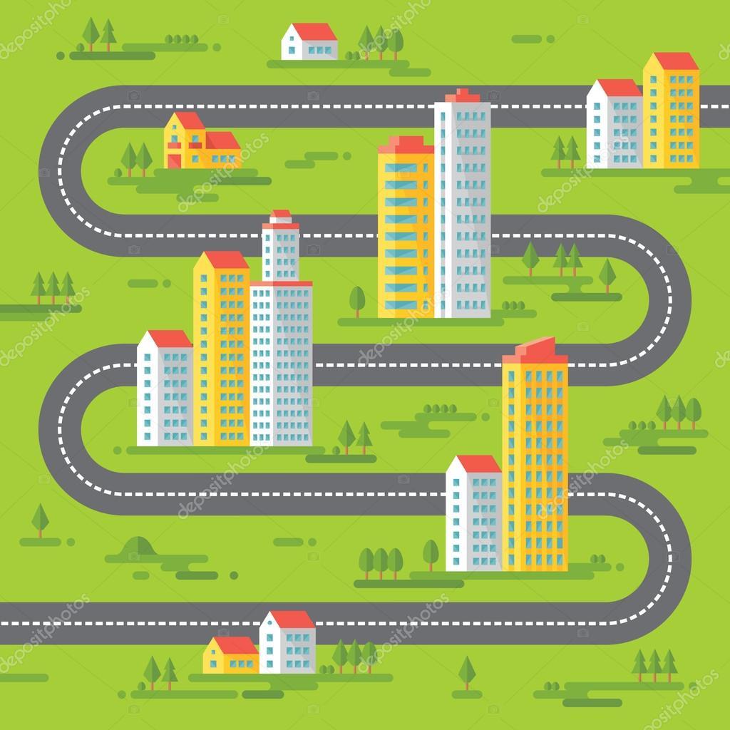 Edificios y carreteras - vector ilustración de fondo en el diseño de ...