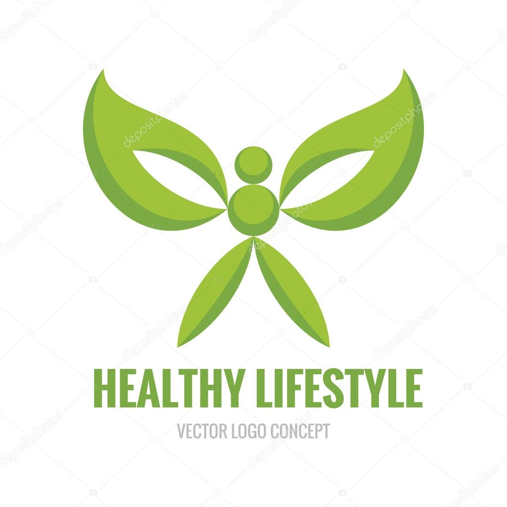 Healthy Lifestyle - vector logo concept illustration. Human character. Ecology vector logo. Organic logo concept. Design element.