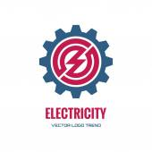 Villamosenergia - vektoros logo fogalom szemléltetése. Fogaskerék-logó. Cégünk emblémáját. Technológia logó. Mechanikus logó. Vektor logo sablon. Design elem.