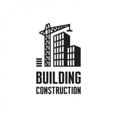 Building construction logo illustration. Crane and building construction illustration concept in black & white colors. Real estate logo. Vector logo template. Reconstruction web page. Design element.