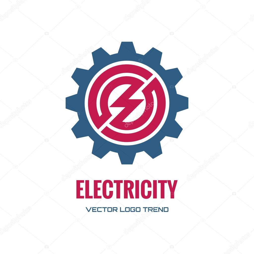 Electricity - vector logo concept illustration. Gear logo. Factory logo. Technology logo. Mechanical logo. Vector logo template. Design element.