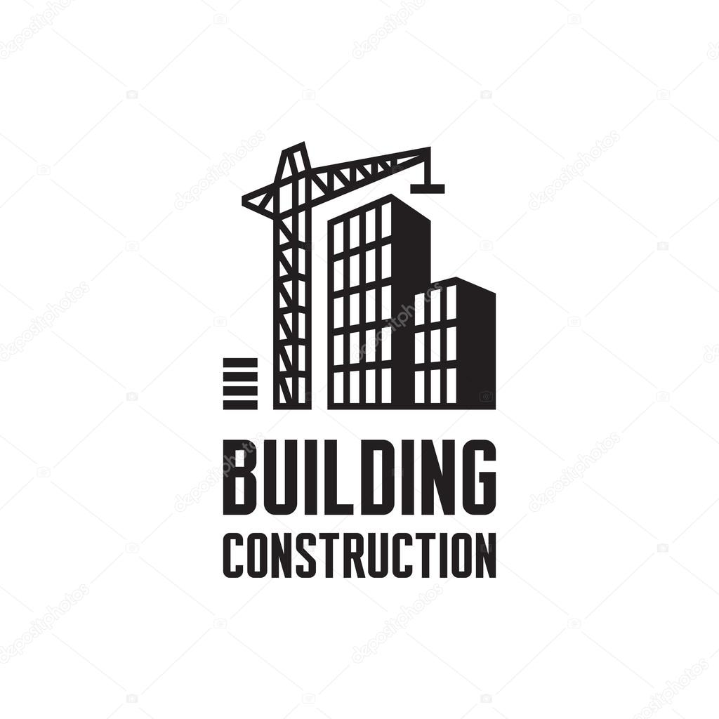 Dibujo de logo de construcci n de edificio gr a y for Build best construction