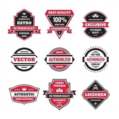 Vector graphic badges collection. Original vintage badges. Creative logo vector set. Vector retro labels collection. Design elements. stock vector