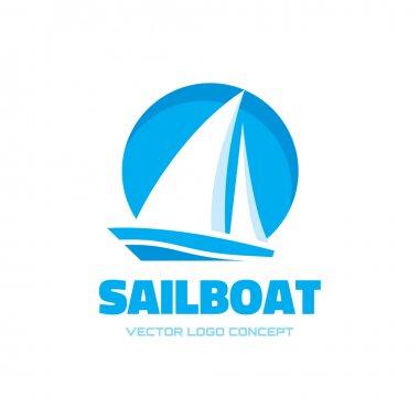 Sailboat - vector logo concept illustration. Ship sign. Design element.