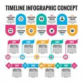 Infographic vektor koncept v plochý design stylu - šablona časová osa pro prezentace, brožury, webové a jiné kreativní design projekty. Tři režimy. Designové prvky.