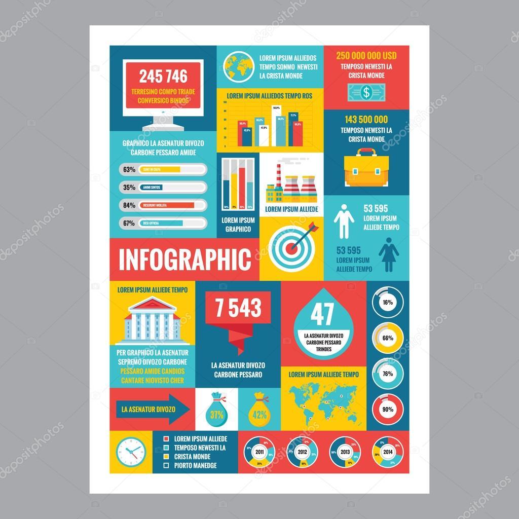 Infografía de negocios - cartel del mosaico con los iconos de estilo ...