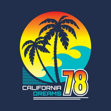 California nights - vector illustration concept in vintage graphic style for t-shirt and other print production. Palms, wave and sun vector illustration. Design elements.