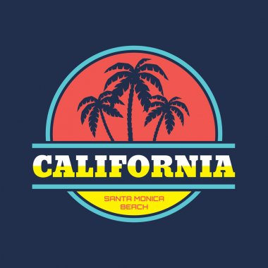 California - Santa Monica beach - vector illustration concept in vintage graphic style for t-shirt and other print production. Palms, wave and sun vector illustration. Design elements.