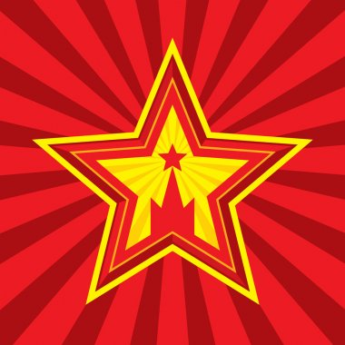 Star with Kremlin symbol - vector concept illustration in Soviet Union agitation style. Russia and USSR symbol. Moscow symbol. Red background. Minimal style. Design element.