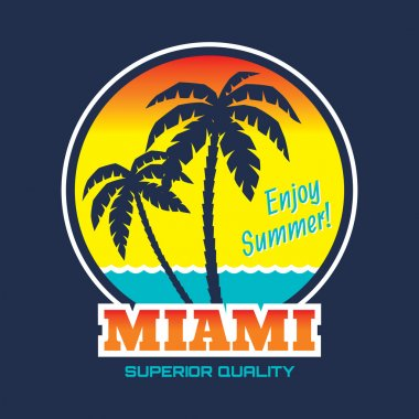 Miami - vector illustration concept in vintage graphic style for t-shirt and other print production. Palms, wave and sun vector illustration. Design elements.
