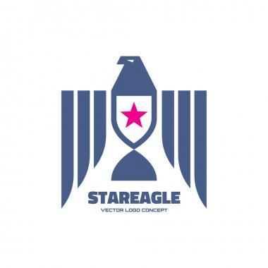 Star eagle - logo sign in classic graphic style for business company. Eagle logo illustration. Vector logo template. American eagle concept illustration. USA symbol. Design element.