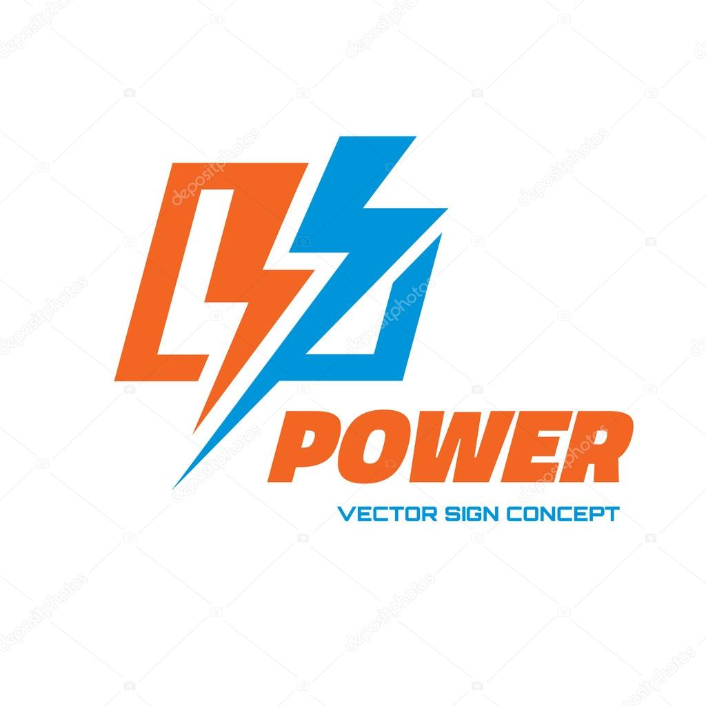 Power - vector logo concept illustration. Lightning logo. Electricity logo. Vector logo template. Design element.