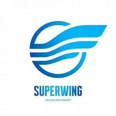 Superwing - vector logo concept illustration. Abstract wing logo. Vector logo template. Design element.