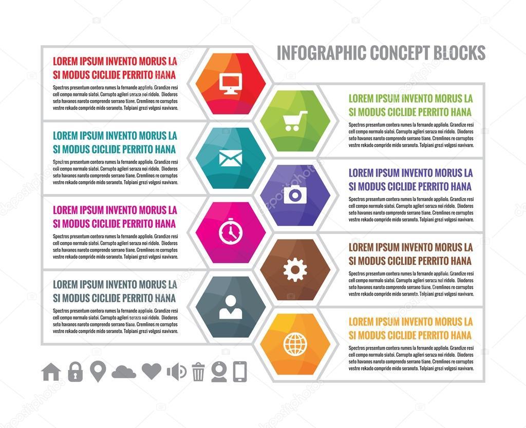 Colores hexagonales de negocios infografía concepto bloquea en el ...