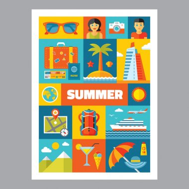 Summer holiday - mosaic poster with icons in flat design style. Vector icons set. Set of summer & travel icons. Summer and travel illustrations. Design elements.