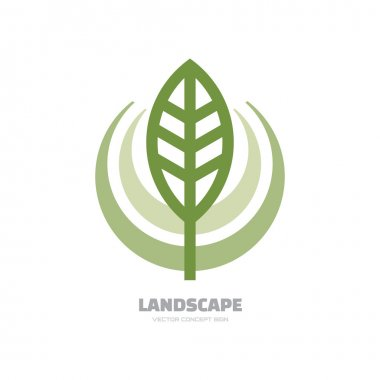 Landscape- vector logo concept illustration. Abstract leaf logo. Vector logo template. Design element.