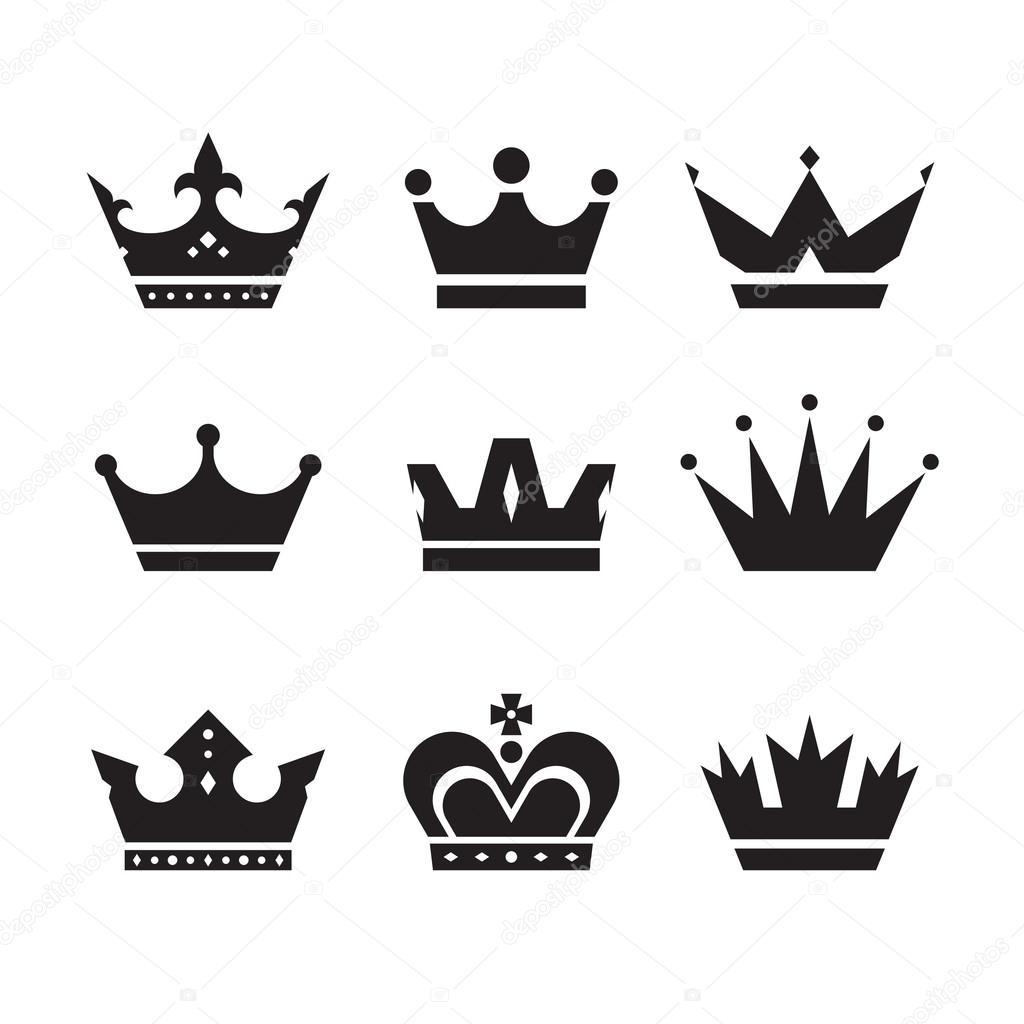 Kroon vector icons set. Kronen tekenen collectie. Kronen ...