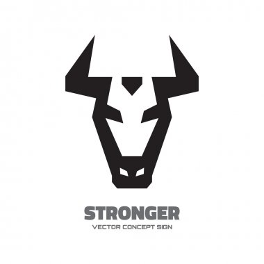 Stronger - vector logo concept illustration. Buffalo head logo. Bull head logo. Taurus head logo. Vector logo template. Design element.