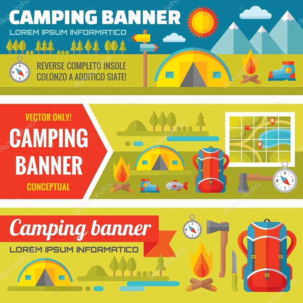 Summer camping - mountain expedition adventures - vector decorative banners set in flat style design trend. Summer camping vector backgrounds. Tourism flat icons. Design elements.
