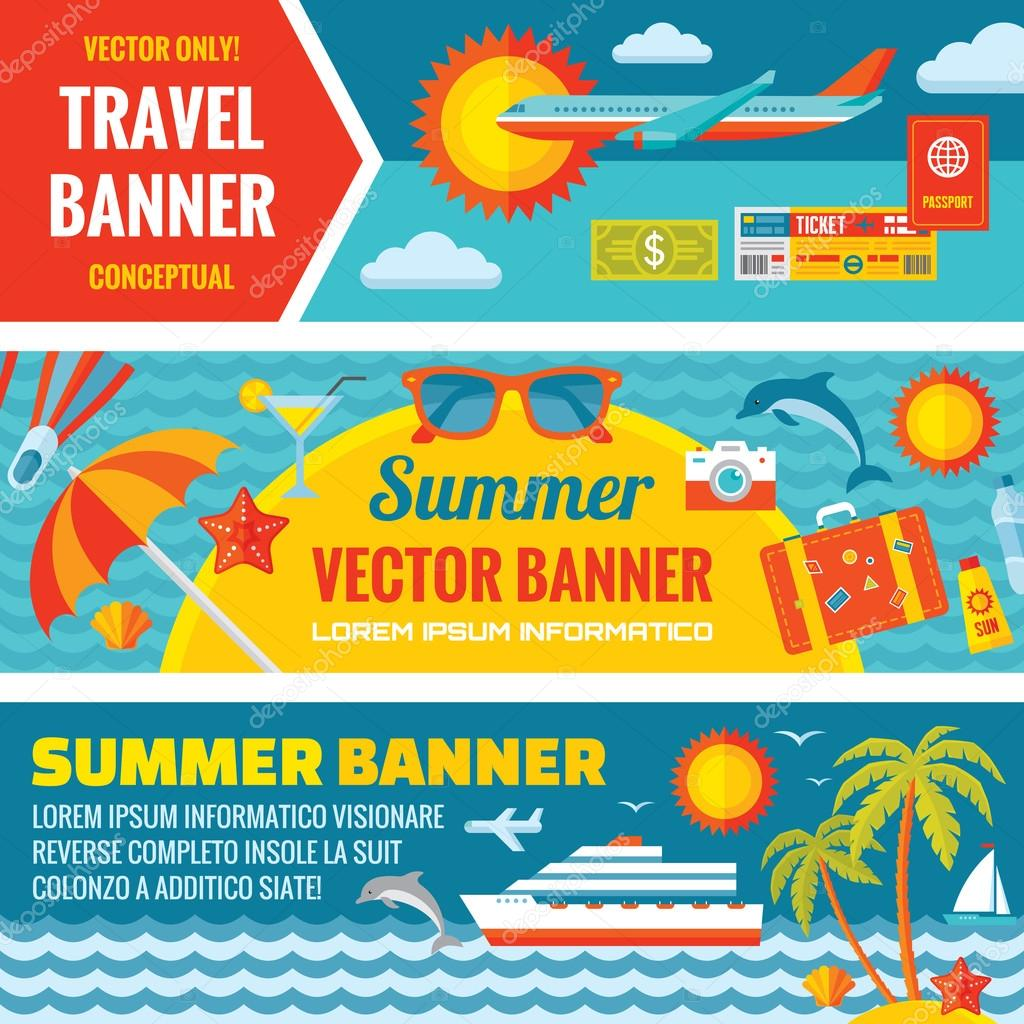 viaje de verano decorativo vector horizontal banderas conjunto en tendencia de diseo de estilo plano fondos de vector de viajes de verano