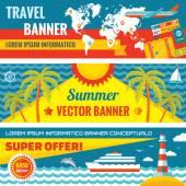 Letní cestování - ozdobné horizontální vektor bannery sada plochý design trend. Letní cestování vektorové pozadí. Léto, cestování a dopravy ploché ikony. Designové prvky