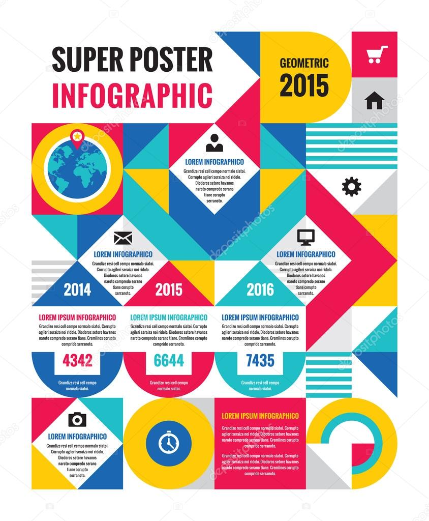 Poster design elements - Geometric Infographic Concept Poster Creative Vector Illustration Unusual Business Infographic Design Elements