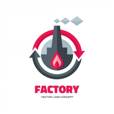 Factory - vector logo concept illustration in flat style for business company. Industrial factory logo sign illustration. Vector logo template. Design element.