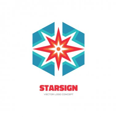 Star sign - vector logo concept illustration. Spark logo. Sun logo. Abstract shape logo. Vector logo template. Design element.