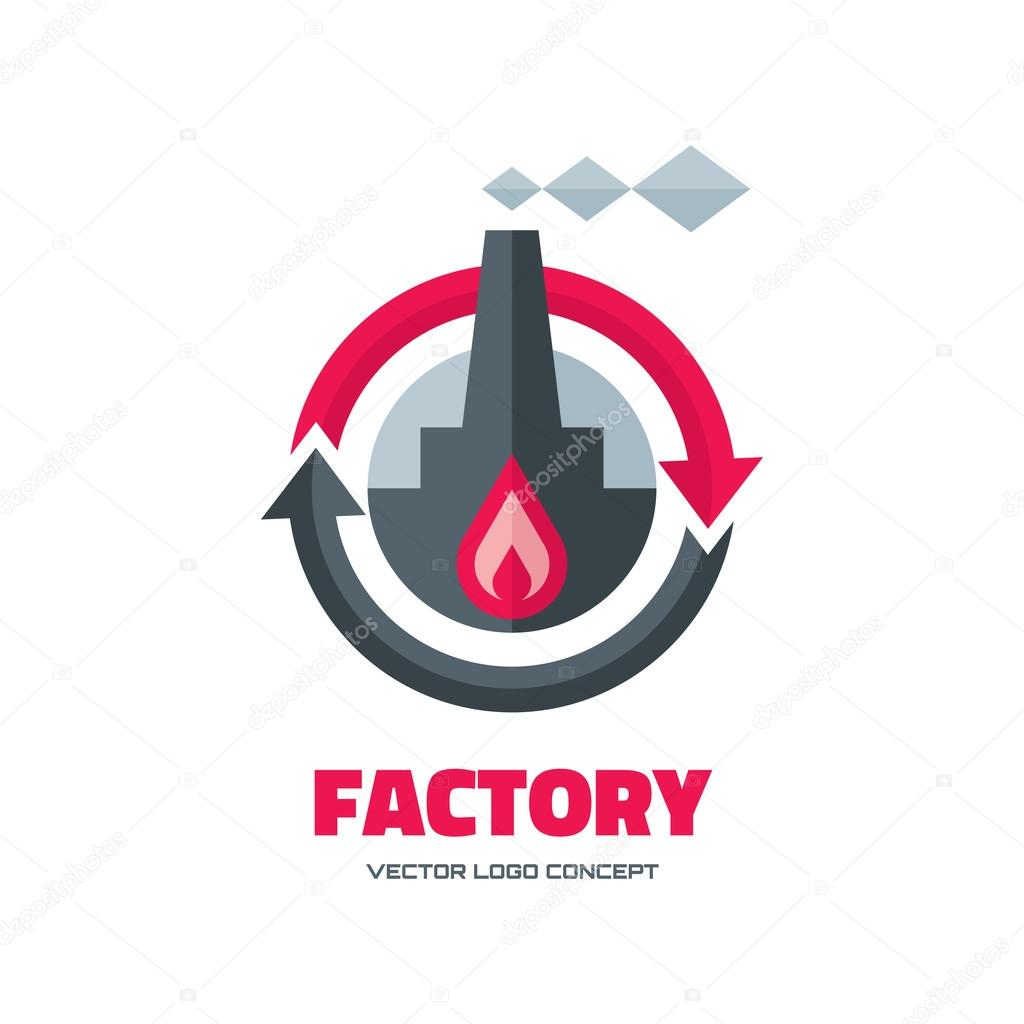 factory vector logo concept illustration in flat style for business company industrial