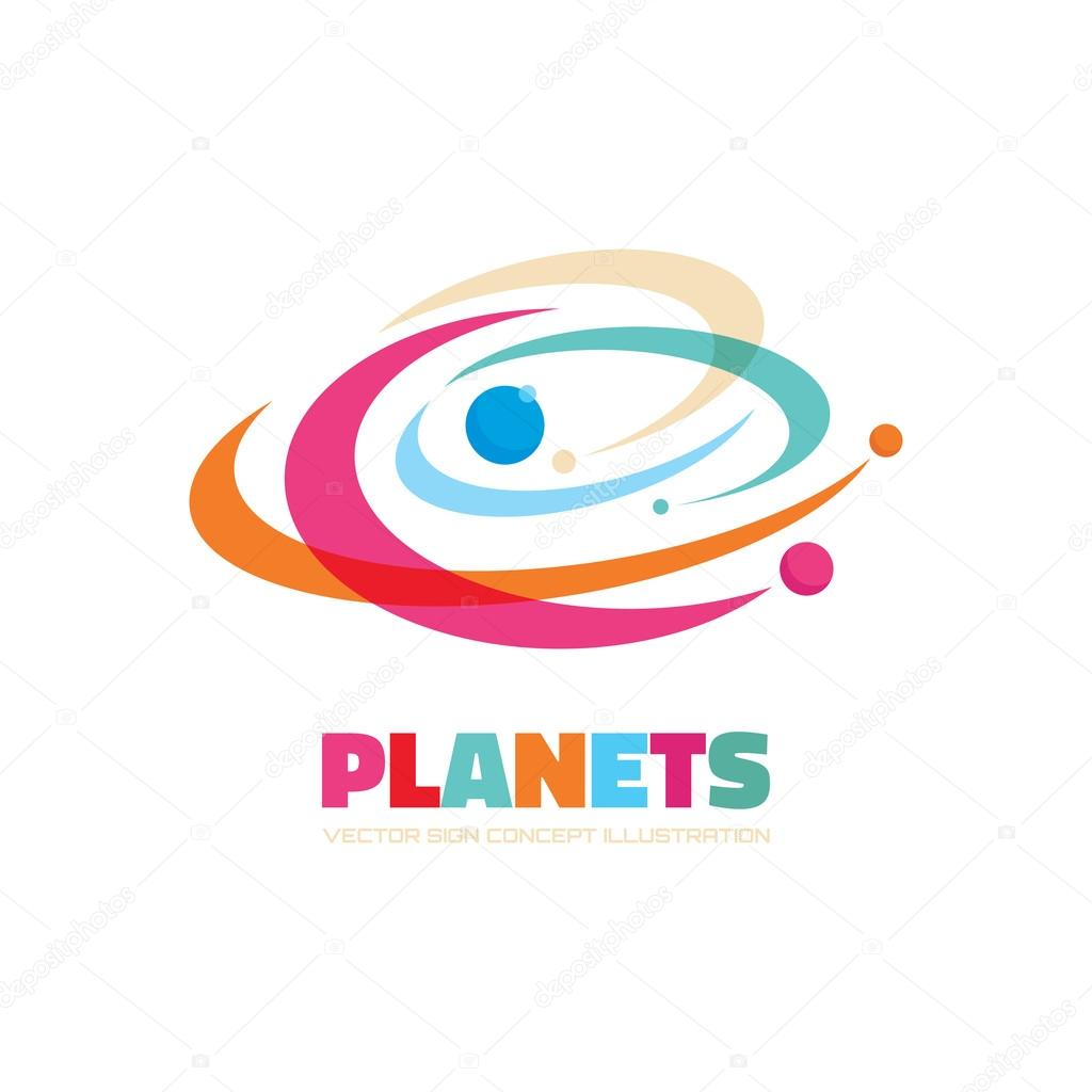 planets vector logo concept abstract planets illustration solar
