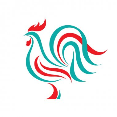 Rooster vector logo concept in line style. Bird cock abstract illustration. Cock logo. Vector logo template. Design element.
